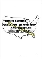VINYL DECAL STICKER THIS IS AMERICA... ENGLISH...FUNNY...CAR TRUCK WINDOW