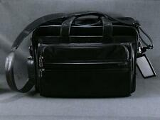 TUMI  BLACK NAPPA  LEATHER LAPTOP TABLET MESSENGER ORGANIZER BRIEFCASE BAG
