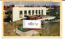 San Francisco Interurban Train Terminal Bay Bridge Service 1940'S Postcard