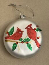 Collectible Frosted Glass Round Christmas Ornament with Cardinal Birds & Holly