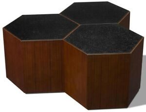 SCARBOROUGH HOUSE COCKTAIL TABLE WALNUT HEXAGONS  BLACK GLASS FAUX MARBLE TO