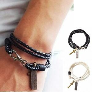 Men's Women's Fashion Braided Leather Bracelet Black Retro Cross Charm TK9-2