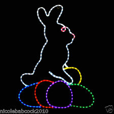 LED LIGHTED QUALITY EASTER BUNNY W/ BRIGHT COLOR EGGS DECORATION