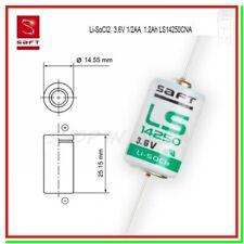 SAFT LS 14250 CNA Batteria Pila 3,6V Li-SoCl2 1/2 AA Assiale a Saldare Reofori