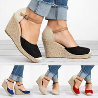 Womens Buckle Ankle Strap Wedges Sandals High Heel Casual Shose Size 6/7/8/9/10