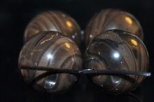 4 Pcs 16mm Exotic~CHOCOLATE BROWN WOOD GRAIN JASPER Large Round Beads N1072