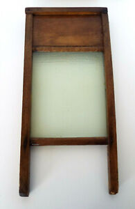 """Ribbed Glass Washboard Wood Primitive Traveling Size 18"""" x 8.5"""" Sold As Found"""