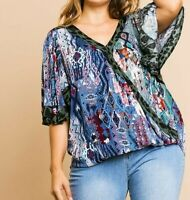 New Umgee Top XL X Large Aztec Animal Leopard Flutter Sleeve Boho Peasant