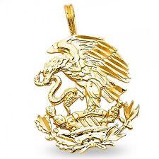 Eagle & Snake Pendant Solid 14k Yellow Gold Charm Diamond Cut Polished Design