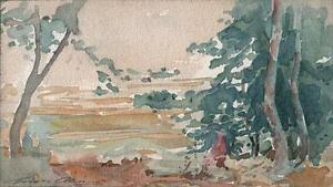 VIEW FROM WITTENHAM CLUMPS Watercolour Painting MARCUS ADAMS c1930 IMPRESSIONIST