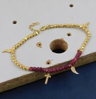 Solid 925 Sterling Silver Ruby Gemstone Handmade Gold Plated Women's Bracelet