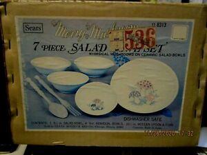 Rare Vintage Merry Mushrooms 7 pc Salad Bowl set in original box