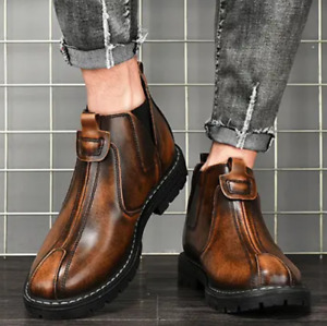 Mens Workwear Silp-On Shoes Fashion Pumps Chelsea Boots Casual Outdoor High-Top