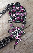 "Black/Fairy Charm Chain/Pink/Crystal Belly/Waist/hip Belt 31"" Vintage Style Glam"