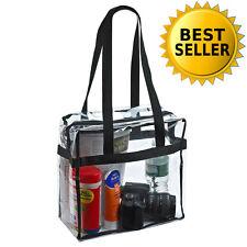 Clear Tote Bag Black Shoulder Straps Bags Zipper Closure Handbags Totes Shopping