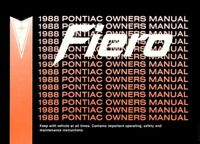 1988 Pontiac Fiero Owners Manual User Guide Reference Operator Book Fuses Fluids