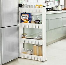 4 Tier Slim Slide Out Kitchen Bathroom Thin Storage Trolley Cart Rack Holder New
