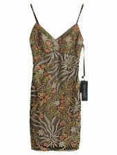 NWT rust Sue Wong Floral cocktail Dress 0
