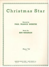 "WEBSTER/WEISMAN ""CHRISTMAS STAR"" SHEET MUSIC-1963-VERY RARE-NEW-MINT CONDITION!!"