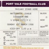 Ticket - Port Vale v Stoke City 01.03.98