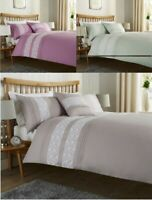 Pleated Bibury White Lace Duvet Cover Double King Silver Duck Egg Bedding Set