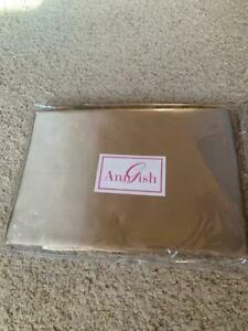 """$1725! NEW Ann Gish """"Satin"""" 100% SILK Taupe QUEEN Duvet Cover - GORGEOUS!"""
