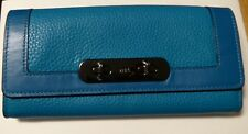 New COACH Swagger SLIM DARK TURQUOISE Pebble Leather Envelope Wallet 54062 $225