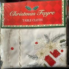 "Christmas Tablecloth 34"" x 34"" inches Cream with Candles Embroidered"