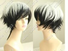 NEW white and black short straight cosplay wig + wigs hairnet