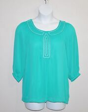 Simply. Chloe Dao Crinkle Tunic with Beaded Trim Size M Aqua