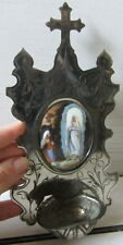 Antica miniatura su ceramica - arte sacra- Immacolata Concezione - acquasantiera