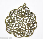 30 Bronze Tone Filigree Flower Wraps Connectors 58x48mm