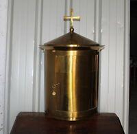 Tabernacle cylindrique en cuivre doré a l'or fin  XIXe Siècle
