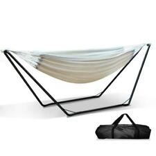 Gardeon 280x150cm Hammock with Black Steel Stand - Cream (HM-BED-KIT-U-S-CREAM)