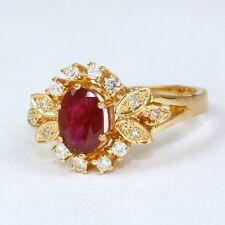 juwelen- Anillo 750 Oro con hermoso rubí y brillante 0,20 QUILATES