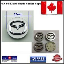 4 X 56mm Mazda Wheel Center Hub Cap3 5 6 CX-7 CX-9  Silver with chrome logo