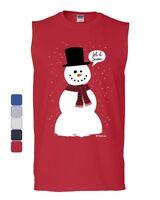 Let It Snow Muscle Shirt Funny Snowman Christmas Xmas Sleeveless