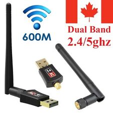 600Mbps Wireless USB WiFi Network Adapter Dual Band 2.4 & 5ghz w/Antenna For PC