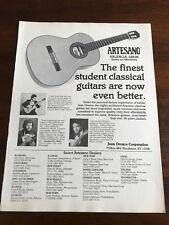 1990 VINTAGE 8X11 PRINT Ad ARTESANO FINEST STUDENT CLASSICAL GUITARS VALENCIA,SP