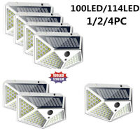 100 LED Solar Power PIR Motion Sensor Wall Lights Outdoor Garden Waterproof Lamp