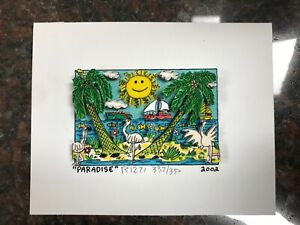 "James Rizzi 3-D Artwork "" Paradise "" Signed & Numbered Limited Edition 2002"