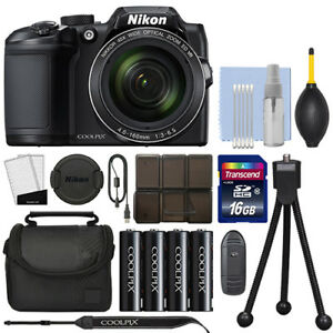 Nikon Coolpix B500 16MP Digital Camera 40x Optical Zoom Black Full-HD + 16GB Kit