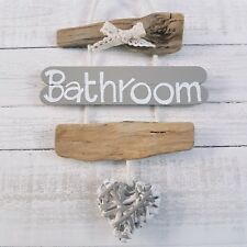 SHABBY DRIFTWOOD CHIC BATHROOM WC TOILET THE LOO WICKER HEART DOOR PLAQUE SIGN__
