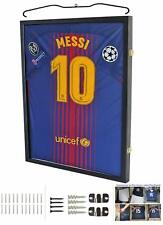 LOCKABLE Jersey Shadow Box Wall Display Case Frame 98% UV, Football Baseball
