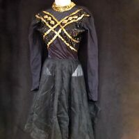 Dance Solo Costume Black Gold Sequins Tap Dance Pageant Competition Halloween