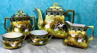 1940s JAPAN Lusterware TEA SET Swan Motif HUGE TEAPOT & SUGAR, Creamer, 2 Cups