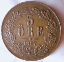 1857 Sweden 5 Ore - Curved Top 5 - Rare Big Value Coin - Free Shipping - Hv42