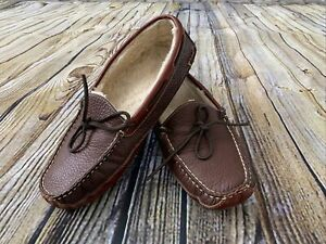 LL BEAN Bison Pebbled Leather Double Sole Slipper Moc Shearling 10 Brown
