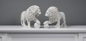 Medici Lions Statues - White Marble Cast Sculptures in Pair