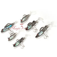 Pack of 6 Soft Lures Jig Head Shad Swimbait Paddle Tail Treble Hook Bass Trout